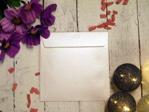 koperta biała metaliczna  kwadrat