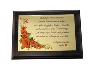 Życzenia dla babci dziadka dyplom drewno prezent